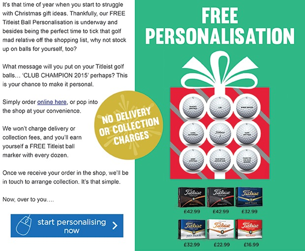 Titleist ball personalisation: place your order